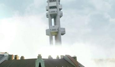Žižkovská věž jako vesmírná reketa: Vysílač létá v novém virálu Škody